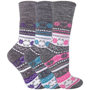 Ladies / Womens 3 Pack Non-Elastic Thick Winter Warm Fairisle Thermal Socks
