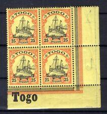 Togo 11 Bordure D'Angle Bloc de Quatre avec Inscription Neuf (B6070