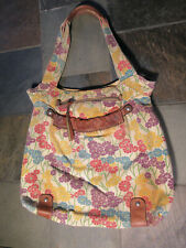 Sutter Fossil Canvas Leather Floral Shoulder Handbag Purse