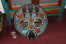 Stunning African Wood Carved Tribal Mask-Large Owl Face-Beads & Shells-Birds