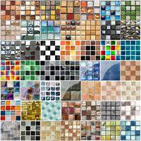 19pcs Kitchen Tile Stickers Bathroom Mosaic Sticker Self-adhesive Wall Decor