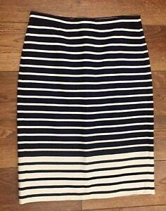 J. Crew navy & ivory below-knee, pencil skirt, zip-back, size 0