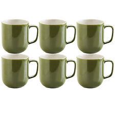 Set di 6 VERDE OLIVA STONEWARE 14oz Tè Caffè HOT cioccolato bevande TAZZE TAZZE