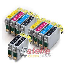 KIT 10 CARTUCCE COMPATIBILI EPSON T0711 T0712 T0713 T0714 CON CHIP NERO + COLORE