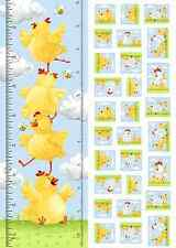 """Susybee's Pippa Growth Chart Chicken 100% cotton 43"""" fabric by the panel 29.5"""""""