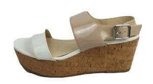 Calvin Klein Lorianne women's sandals wedge shoes nude white buckle size 8M