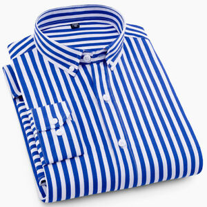 New Mens Dress Shirts Fashion Casual Button Front Long Sleeves Striped Shirts