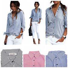 Fashion Womens Long Sleeve Casual Striped Cotton Shirt Tops Blouse Elegant Tops