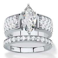 PalmBeach 3.01 TCW Cubic Zirconia Platinum over .925 Silver Halo Bridal Ring Set