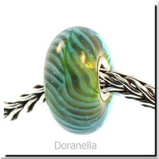 Authentic Trollbeads Glass 61350 Blue-Green Feather :1 RETIRED