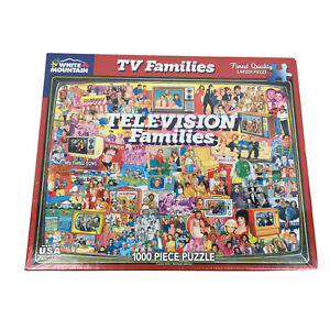 """White Mountain TV Families 1000 Piece Jigsaw Puzzle Larger Pieces 24""""x30"""" NEW"""