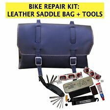 Set di riparazione bici borsa in pelle nera, Multi-Tool, forare riparazione KIT Made in UK