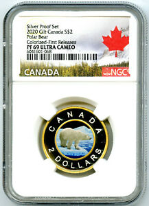 2020 $2 CANADA SILVER PROOF TOONIE NGC PF69 GILT COLORED TWO DOLLAR RARE COIN