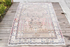 Turkish Rug 54''x84'&# 039; Vintage Light Muted Color Oushak Wool Carpet 139x215cm