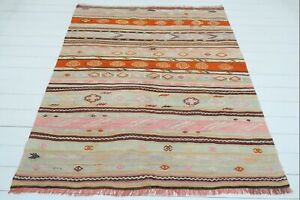 "Turkish 5x7 Kilim Rug, Diningroom Rug, Carpet, Living Area Rug, Kelim 61""x72"""