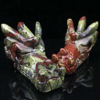 Natural dragon blood jasper hand carved dragon skull quartz crystal healing 1pc