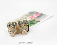 Women Gold Alloy Full Rhinestone Black Eyes Owl Animal Cute Girl Stud Earrings
