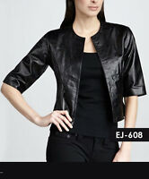 Genuine Soft Lambskin Leather Smart Short Blazer