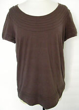 GERARD DAREL Brown Short Sleeve 100 % Cotton Top With Design Size 2