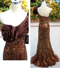 NWT JOVANI  BROWN 7846 Pageant Formal Evening Gown 8