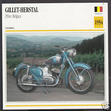 1954 Gillet-Herstal 250cc Belgica Belgium Bike Motorcycle Photo Spec Info Card