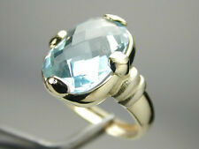 1386 Ring Large Fancy Cut Faceted Topaz Crown 14k Solid 100% Yellow Gold size 6