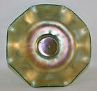 EARLY NORTHWOOD BULLSEYE AND LEAVES GREEN BOWL CARNIVAL GLASS MARKED