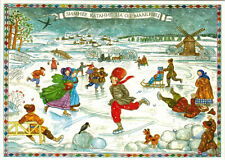 Winter Scene: A.Pushkin on skating rink in Mikhailovskoe Modern Russian postcard