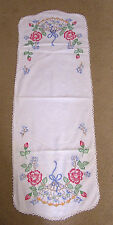 Vintage Table Runner Embroidered Red Roses and Hand Fans
