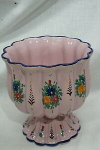 Vintage Italy PV Hand Painted Fluted Vase Chalice Bowl Compote Pink w Flowers