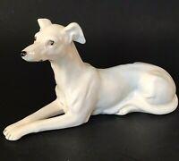 "WHITE GREYHOUND DOG FIGURINE PORCELAIN 8 1/4""W BROWN EYES BLACK NOSE VINTAGE"