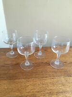 "SET OF 4 Ribbed Stem 9-ounce Clear 5-3/4"" Wine Glasses; Square Bowl; EUC!"