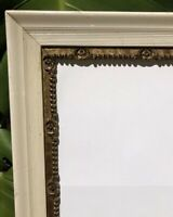 Antique Wood Picture Frame White Lacquer Gilded Gesso Old Wavy Glass