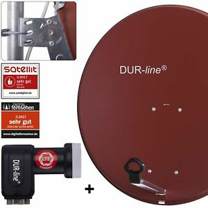 DUR-line 4-Teilnehmer Sat-Anlage | DUR-line MDA 80 Rot + Quad LNB Komplettset