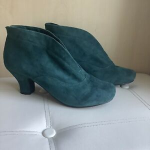 HOTTER DANIELLE WOMENS SOFT SUEDE forest green ANKLE BOOTS SIZE UK 8