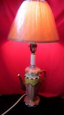 LOVELY CERAMIC TEAPOT TABLE LAMP W/ PINK SHADE AND TOUCH LIGHT CONTROL