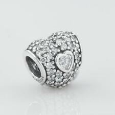 Authentic Genuine Pandora Silver Double Pave Heart with CZ Charm 791168CZ