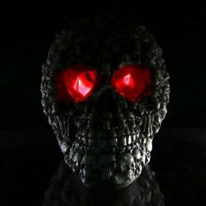 LED Human Shape Skeleton Head Skull Statue Figurine Demon Evil Boneyard Piled Up