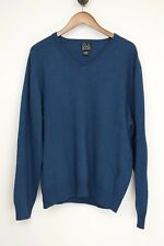 Jos A Bank Mens Sweater L Solid Blue Cashmere V Neck Long Sleeve Travelers