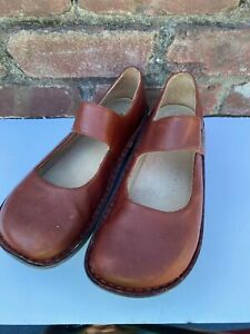 ALEGRIA Belle Brown Leather Mary Jane Womens 9.5-10 M EUR 40