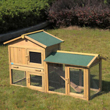 "Large 58"" Wooden Rabbit Hutch Chicken Coop Bunny Animal Hen Cage House w/Run"