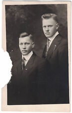 Real Photo Postcard RPPC Two Attractive Brothers - Identified on back. Damaged