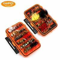 120X Magreel Fly Fishing Lures Bait Kit Box For Dry Wet Bass Salmon Trout Fish