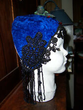Rare & unique vintage blue velvet sword balancing belly dance headpiece