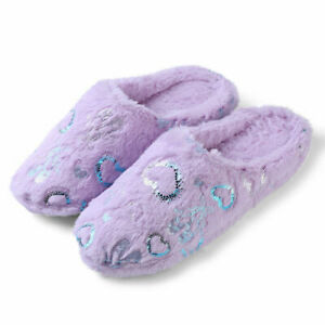 Aerusi Women Slip On Fluffy Plush Heart Slippers Memory Foam House Indoor Shoes