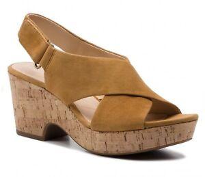 Clarks Sandals Maritsa Lara Ochre Suede Size 7 D RRP £60 Wedge