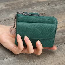 Green Womens Genuine Leather Mini Wallet Clutch Small Zip Coin Cash Pocket Purse