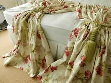 "Dunelm 6"" Deep Header 100% Cotton Lilacs Tulip Florals Pair Lined Curtains 72""d"