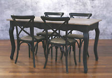 Setting 5 PIECE 160x80 Dining Table Cross Back Chairs French Provincial Package