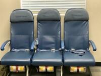 Authentic 747-400 Aircraft Row of 3 Airline Economy Comfort Seats